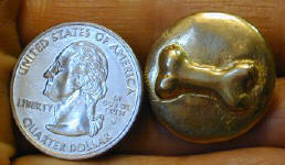Dog Bone Button with quarter