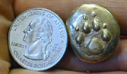 Dog Paw Button with quarter