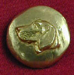 Profile Foxhound, left facing Bronze Button