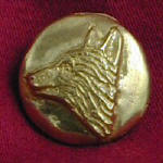 Profile Fox ,left facing Bronze Button