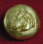 Horse, left facing Bronze Button