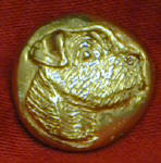 Jack Russell Terrier, right facing Bronze Button