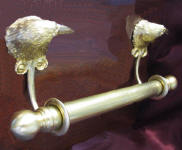 "Brackets with 5/8"" rod and finial, side view"