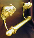 "Rooster Brackets with 5/8"" Towel Rod, side view"
