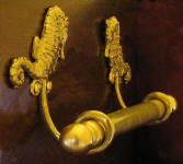 "Seahorse Brackets with 5/8"" Towel Rod, side view"