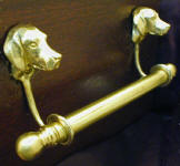 "Horse Brackets with 5/8"" rod and finial, side view"