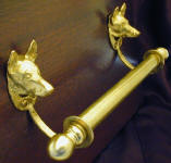 "German Shepherd Brackets with 5/8"" rod and finial, side view"