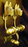 Briard Duet Door Knocker, side view