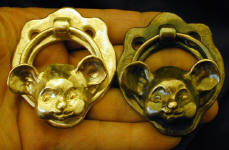 2 Cutesy Mouse Door Knockers, 1 with patina