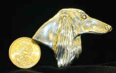 Sterling Silver Saluki Pin, with dollar coin