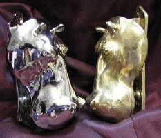 Hippo Large Door Knockers, side view, nickel plated and bronze