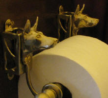 Doberman (cropped) Toilet Paper Holder, side view